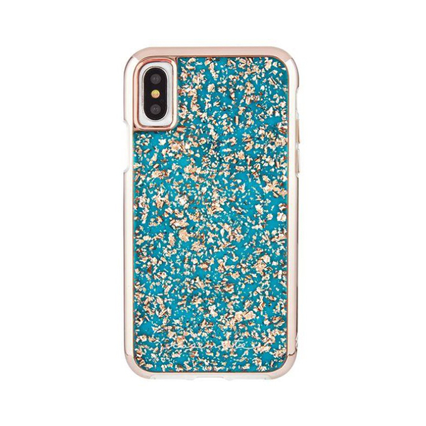 美國 Case-Mate iPhone X Karat Turquoise 藍綠金箔防摔手機保護殼