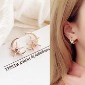 925銀耳針月亮星星耳環女韓國氣質性感百搭網紅耳墜耳釘耳飾品 一次元