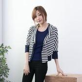 經典棉針織橫條薄罩衫短外套    [黑 藍] 兩色售 [MNNO07041]
