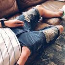 青少年夏季男士牛仔短褲男水洗磨破洞復古五分褲潮流夏天中褲5分