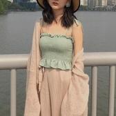 度假溫柔風壓褶裹胸背心修身顯瘦木耳邊內搭性感吊帶上衣打底衫女 夏日專屬價