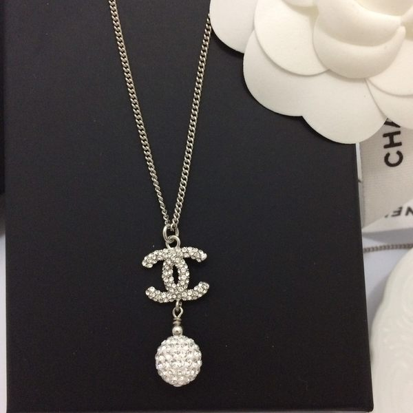 CHANEL香奈兒 全新真品 雙C 水鑽 + 水晶球 項鍊(銀色) ~現貨