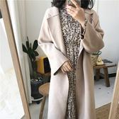 大衣 簡約 兩粒釦 翻領 廓型 毛呢 不收邊 長大衣 外套 M、L碼【MYY030】 BOBI