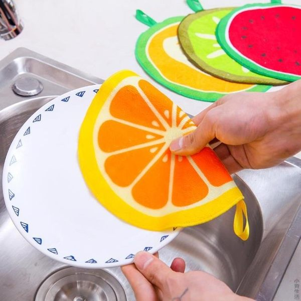 可掛式卡通水果圖案擦手巾廚房吸水抹布搽手巾擦手布毛巾兒童手帕JRM-1388