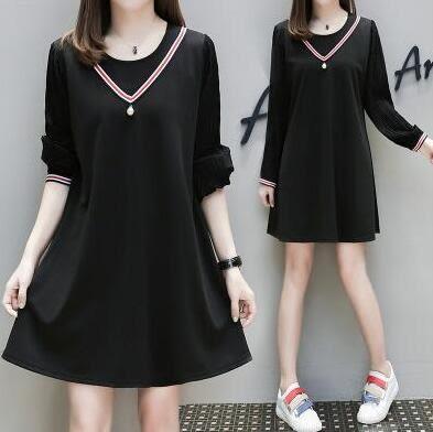 洋裝。中大尺碼韓版中長款連衣裙洋裝休閒裙孕婦寬鬆連身裙XL-5XL  韓依紡