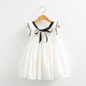 寶寶飛袖連身裙 2019夏裝韓新款女童童裝兒童百褶公主裙