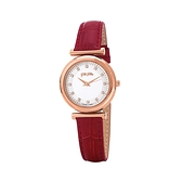 【Folli Follie】Sparkle Chic浪漫晶鑽時尚真皮腕錶-正紅款/WF16R022SSS_RE/台灣總代理公司貨享兩年保固