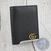 BRAND楓月 GUCCI GG 428737 古馳 金LOGO 黑色 二折卡夾 皮夾