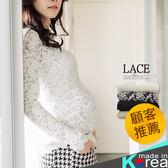 *韓國空運孕婦裝*【HA4210】孕婦裝.親膚彈力蕾絲長版上衣 哈韓孕媽咪