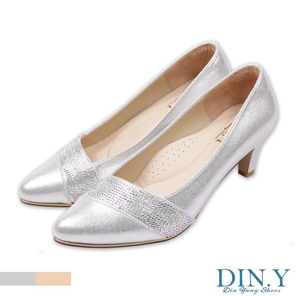 璀璨星砂鑲鑽真皮裡跟鞋(銀) 婚鞋.尖頭鞋.中低跟.晚宴鞋.5.5cm高.女鞋【S193-07】DIN.Y