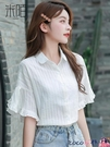 熱賣雪紡上衣 夏季薄款白色雪紡襯衫女裝春夏裝2021年新款短袖上衣氣質女士襯衣 coco