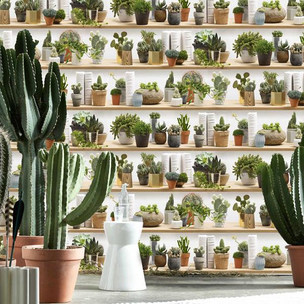 盆栽紋壁紙 綠色植物壁紙 客廳壁紙 法國KOZIEL