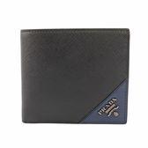 【PRADA】銀LOGO拼色零錢袋對開短夾(黑/深藍) 2MO738 QME F0G52