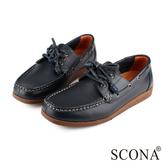 SCONA 全真皮 經典美式手工帆船鞋 藍色 1232-2