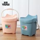 多功能塑料水桶帶蓋加厚可坐手提洗澡釣魚桶凳玩具家用零食收納桶 城市科技DF