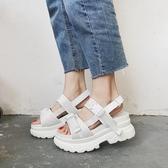 增高涼鞋女 歐洲站夏季新款松糕鞋女厚底學生涼鞋休閒港味chic增高羅馬鞋 雙十二