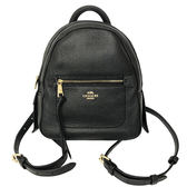【COACH】馬車系列 LOGO 皮革前口袋小巧後背包(黑)