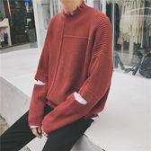韓版潮流撞色假兩件男士休閒套頭毛衣保暖針織衫潮