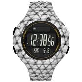 adidas 勁戰狙擊大面板電子腕錶-白黑網格-大