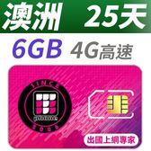 【TPHONE上網專家】澳洲 25天 6GB大流量 支援4G高速 包含當地通話