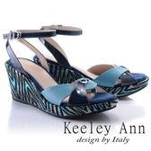 ★2018春夏★Keeley Ann迷幻曲線~ 異色交叉腳踝帶全真皮楔形涼鞋(藍色)