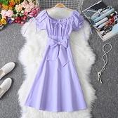 洋裝 淡香芋紫色方領鎖骨一字領露肩洋裝泡泡袖夏季中長款收腰顯瘦