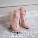 粗跟短靴 2020秋冬季新款側拉錬高跟女靴少女短靴粗跟馬丁靴子短筒32-43碼 嬡孕哺