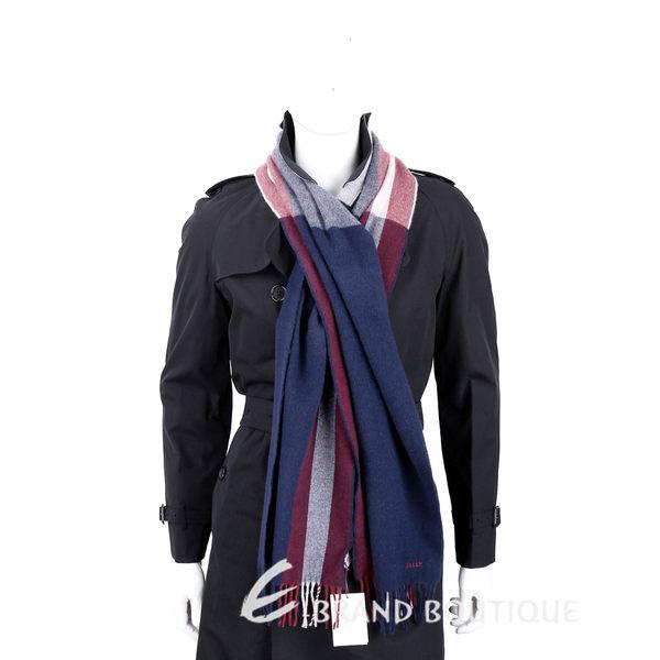 BALLY Trainspotting 雙色條紋混紡羊毛流蘇圍巾(深藍色) 1530084-34
