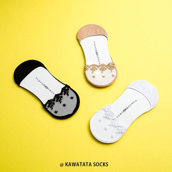 日本透明蕾絲花隱形襪/3色【558041204】