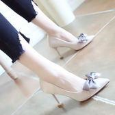 蝴蝶結高跟鞋2018春季新款細跟尖頭女鞋 東京衣櫃