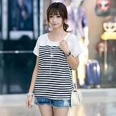短袖針織衫-條紋時尚休閒寬鬆女T恤2色73hn74【時尚巴黎】