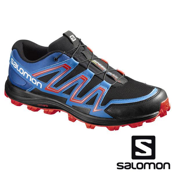 法國 SALOMON 男 SPEEDTRAK 野跑鞋 黑/邊際藍/熔岩橙 390623 慢跑鞋|登山鞋|戶外|健行鞋