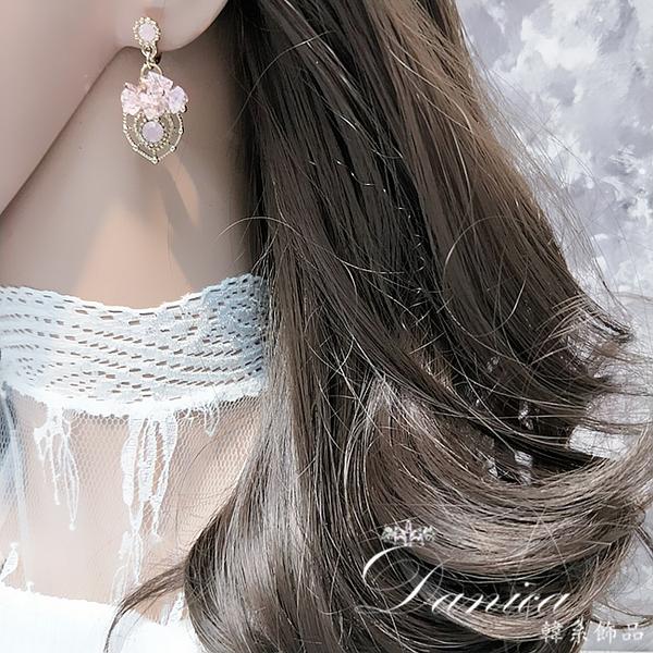 現貨 韓國女神浪漫唯美輕奢宮廷風愛心水晶垂墜耳環 夾式耳環 S93456 批發價 Danica 韓系飾品