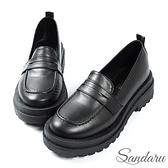 學生鞋 經典百搭素面厚底小皮鞋-黑