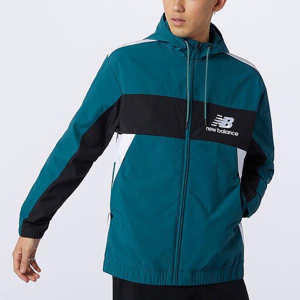 New Balance 男裝 外套 連帽 防風 風衣 休閒 拼接 綠【運動世界】AMJ13500MTL