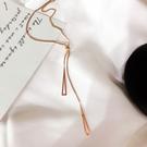 項鍊 幾何 三角形 抽拉式 吊墜 氣質 短款 鎖骨鍊 項鍊 【DD1905068】 BOBI 3/26