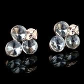 耳環 玫瑰金純銀 鑲鑽-氣質出眾生日聖誕節交換禮物女飾品73hz116【時尚巴黎】