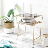 個性房間布置小桌子茶幾臥室坐地北歐鐵藝床頭柜玻璃美式輕奢邊幾CY2580『麗人雅苑』