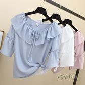 2018夏季新款短袖棉麻上衣女寬鬆喇叭袖荷葉邊雪紡娃娃衫洋氣小衫「時尚彩虹屋」