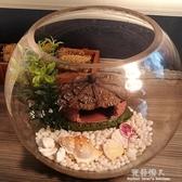 魚缸生態圓形玻璃金魚缸烏龜缸桌面小型造景水培花瓶圓型小魚缸 完美情人YXS