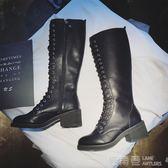 繫帶膝上靴女秋季新款機車馬丁靴過膝長筒靴高筒瘦瘦騎士靴子潮 鹿角巷YTL