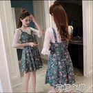 夏季新款韓版小清新碎花雪紡吊帶連衣裙學生套裝裙子兩件套潮 花樣年華