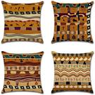BECOSIM【日本代購】時尚北歐 靠墊套 枕套 棉麻制 抱枕套4件套 - 民族圖案