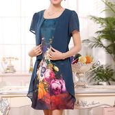 【首爾WILL】(現貨在台)-XL-4XL-韓媛時尚大花假二件式洋裝