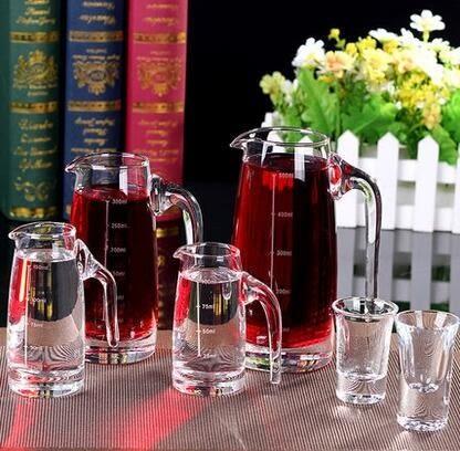 白酒分酒器帶刻度紅酒白酒分酒壺酒具水晶玻璃果汁壺醒酒器