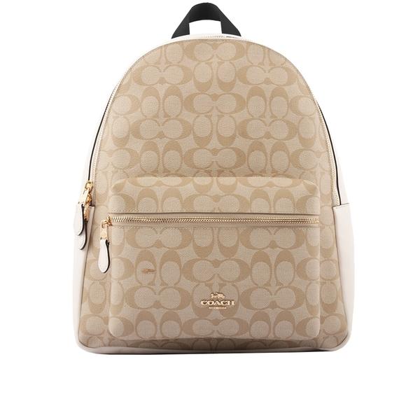 【COACH】經典LOGO皮革+帆布 後背包(白色) F58314 IMDQC