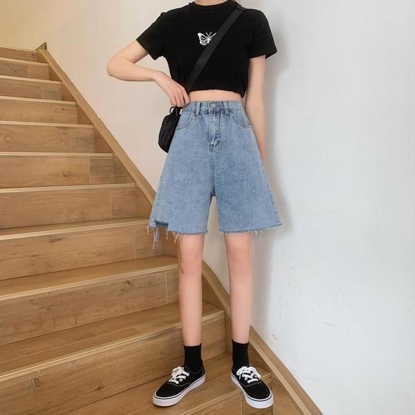 大尺碼女裝大碼高腰牛仔五分褲女200斤夏季微胖妹妹寬松顯瘦a字闊腿中褲熱褲