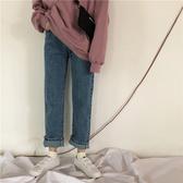 春季韓版女裝復古chic百搭牛仔褲高腰顯瘦直筒褲學生寬鬆九分褲 米希美衣