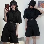 連身褲 連身褲女夏2020新款韓版寬鬆黑色工裝連身套裝女潮連身短褲女ins 韓國時尚週