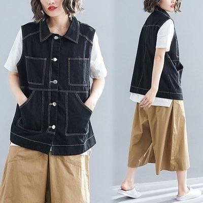 韓版外套秋衣新款韓版寬鬆顯瘦大碼牛仔無袖馬甲外套R31B-9016.胖胖唯依
